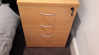 OFFICE FURNITURE 1 x  3  drawer filing cabinet study den furniture incl key