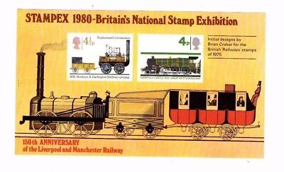 1980 Stampex Liv/manchester Railway Souvenir Sheet From Collection T17