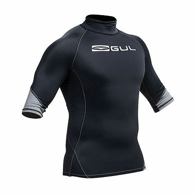 Gul Xola Mens Short Sleeve Rash Vest Rashguard Black Surfing Sail Uv 50+ Medium