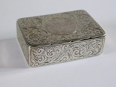 c1886  ANTIQUE SOLID SILVER SNUFF BOX by JAMES SWAN ?