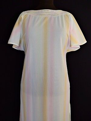 Original Vtg 70S Lounge Gown Pastel Fab Colours Psychedelic Hippy Tunic 12