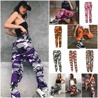 Women Pink Camo Cargo Trousers Casual Pants Military Army Combat Jeans Mix-Color