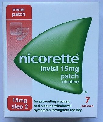 NICORETTE INVISI 15mg patch box of 7 Patches step 2 use by date 09/2018 or later