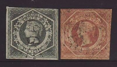 1854-56 NSW QV 6d Grey & 1/- Rose-Red Diadems used