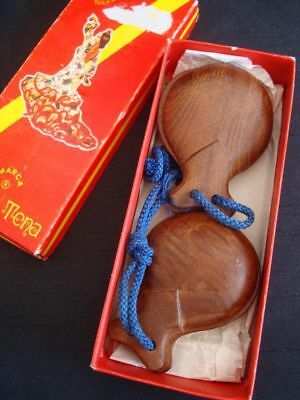 Authentic Wooden Castanets Marca Lucero Tena Vintage In Box Made In Spain