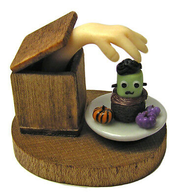 Dollhouse Miniature Ghostly Hand in Box Reaching for a Frankencake - 1:12 scale