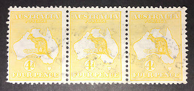 First watermark 4d Yellow-Orange Roo strip of 3 fine used