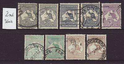2nd watermark Group of 9 Roos all from 1914 used