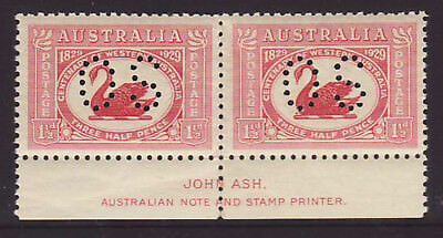"""1929 W.A Swan Imprint pair with """"OS"""" perfin muh"""