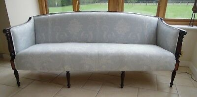 Sheraton Sofa, Ex Con'd New Upholstery. Linen/Pale Blue