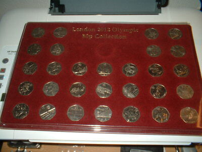 CK6}RARE COMPLETE SET 2012 OLYMPIC GAMES 50p COINS IN TRAY & COMPLETER MEDALLION
