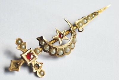 Antique 9Ct Solid Gold Pearl And Ruby Sword And Moon Brooch