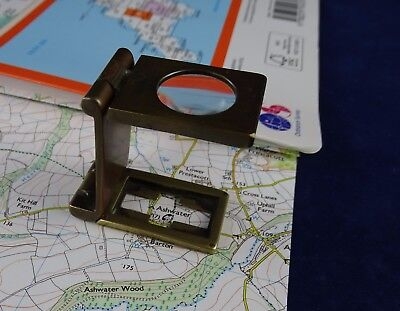 Very Nice Antique Brass Thread Counter, Folding Pocket Magnifier, by Casartelli