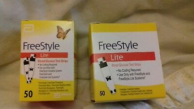 Freestyle lite test strips. (2 X 50) Brand new. Sealed. Unopened.