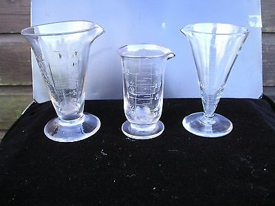 3 Old Glass Measures