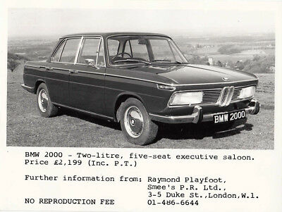 Bmw 2000 Two Litre Five Seater Executive Saloon Period Photograph.