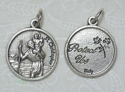 St Christopher Round, Medal Pendant, Silver Tone, 15mm Diameter, Silver Oxide
