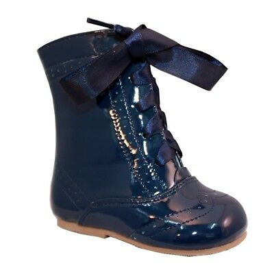 Sevva Baby Girls Isabelle Spanish Romany Style Navy Ribbon Lace Patent Boots