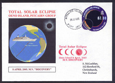 "2005. Pitcairn Island Total Solar Eclipse On Oeno Island Cover Ex M.v. ""discover"