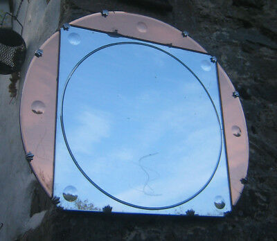 Stunning art deco peach/clear glass hanging mirror. Nautical/industrial look.