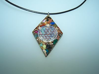 Necklace Flower of Life Silver Orgonite Pendant F. Chain Many Healing Stones