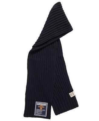 New Mens Superdry Super Cable Scarf Navy
