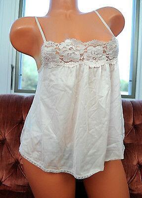 VTG Light Beige Nylon Shiny Fancy Lace Sexy Nightie Camisole Half Slip Top sz M