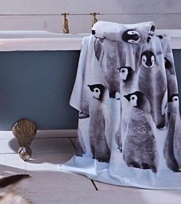 Penguin Colony Towels Soft 100% Cotton Velour Hand or Bath Towels Bathroom Towel