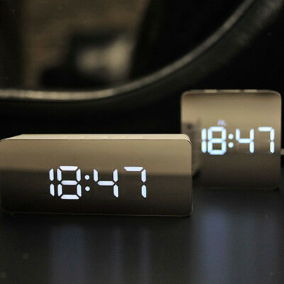 LED Desk Alarm Clock - Time Snooze Mirror Temperature Night Mode - Rectangle
