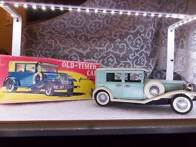 Vintage Tin Friction old timer in box made in Japan 1960s teal green and beige