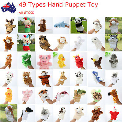 Story Learning Baby Kid Soft Zoo Plush Toy Animal Hand Glove Puppets Doll AU