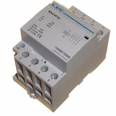 32 amp AC contactor 20kW 4 pole normally open DIN rail mount Heating Lighting