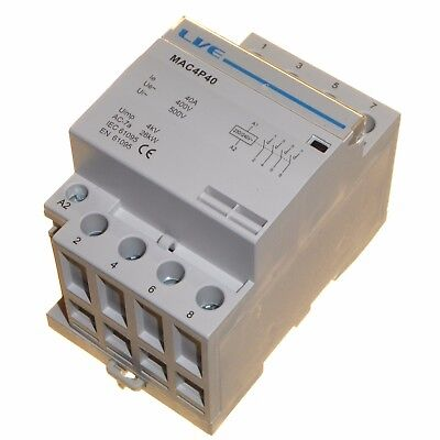 40 amp AC contactor 26kW 4 pole normally open DIN rail mount Heating Lighting