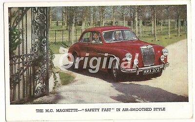 "ORIGINAL The M.G. Magnette ""Safety Fast"" Dealer Postcard 50s/60s RARE"