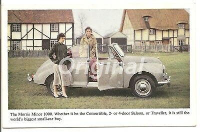 ORIGINAL Morris Minor 1000 Convertible (Taupe?) Dealer Postcard 50s/60s RARE