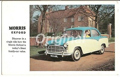 ORIGINAL Morris Oxford 1½L Saloon (Blue/Fawn) Dealer Postcard 1950s/60s RARE