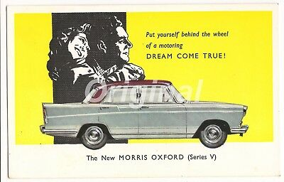 ORIGINAL 'New' Morris Oxford Series V 1½l Saloon Dealer Postcard 50s/60s RARE