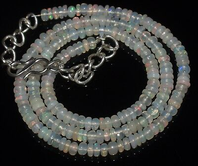 42 Ctw 4-4 Mm 16 Natural Genuine Ethiopian Welo Fire Opal Beads Necklace-R6522