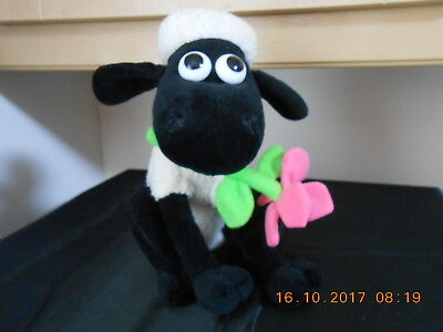 Wallace & Gromit Shaun The Sheep pink flower in mouth sitting plush soft toy