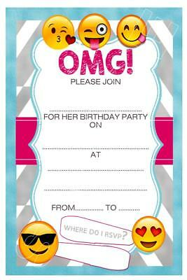 1 X EMOJI GIRLS CHILDRENS BLANK FILL IN DIY BIRTHDAY INVITATIONS FREE MAGNETS