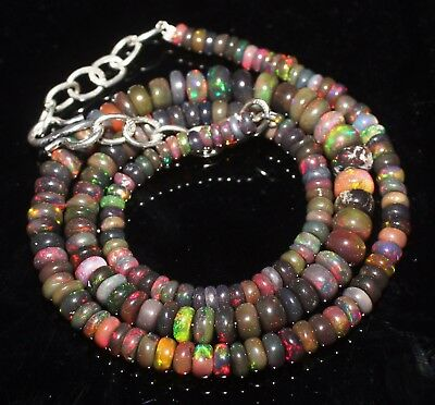 53 Ctw 3-6 Mm 16 Genuine Ethiopian Welo Fire Black Opal Beads Necklace-S830