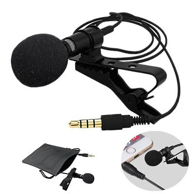 3.5mm Stereo Jack Plug Mini Condenser Microphone Lapel Collar Tie Clip On Mic