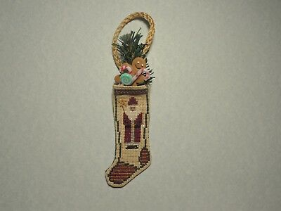 "Finished Completed Cross Stitch ""SANTA STOCKING"" Ornament"