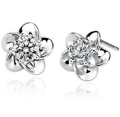 Earrings Solid 9ct White Gold GF Diamond Cluster Heart Studs Gift Idea Christmas