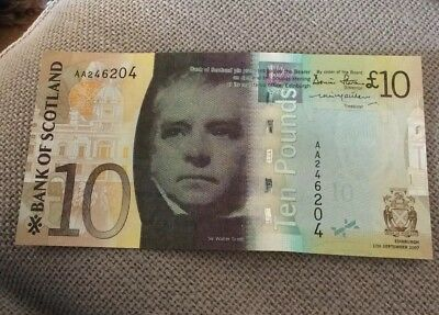 Bank Of Scotland £10 Banknote. 2007. AA serial Number. Uncirculated
