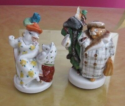 Very Rare Lomonosov Porcelain, 2 humorous animal figures from russian fable/tale