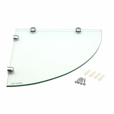 Floating Glass Bathroom Corner Wall Storage Display Shelves - 300x300mm - x1