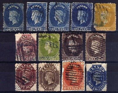 Ceylon 1863-70 Crown Cc Wmk. Used Selection, Poor To Good, 13 Stamps.