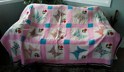 """Vintage """"BUTTERFLY"""" QUILT Handmade 88"""" x 72"""""""