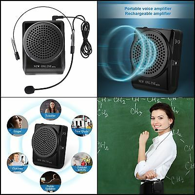 Battery Powered Portable Voice Amplifier Speaker W/ Earhook Microphone Waistband